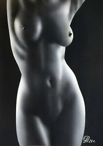 Dibujo de una niña desnuda # 160. Aerografía.