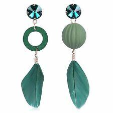 Emerald Green Luxury Wooden Feather Dangle Circle Hoop Drop Earrings E1231
