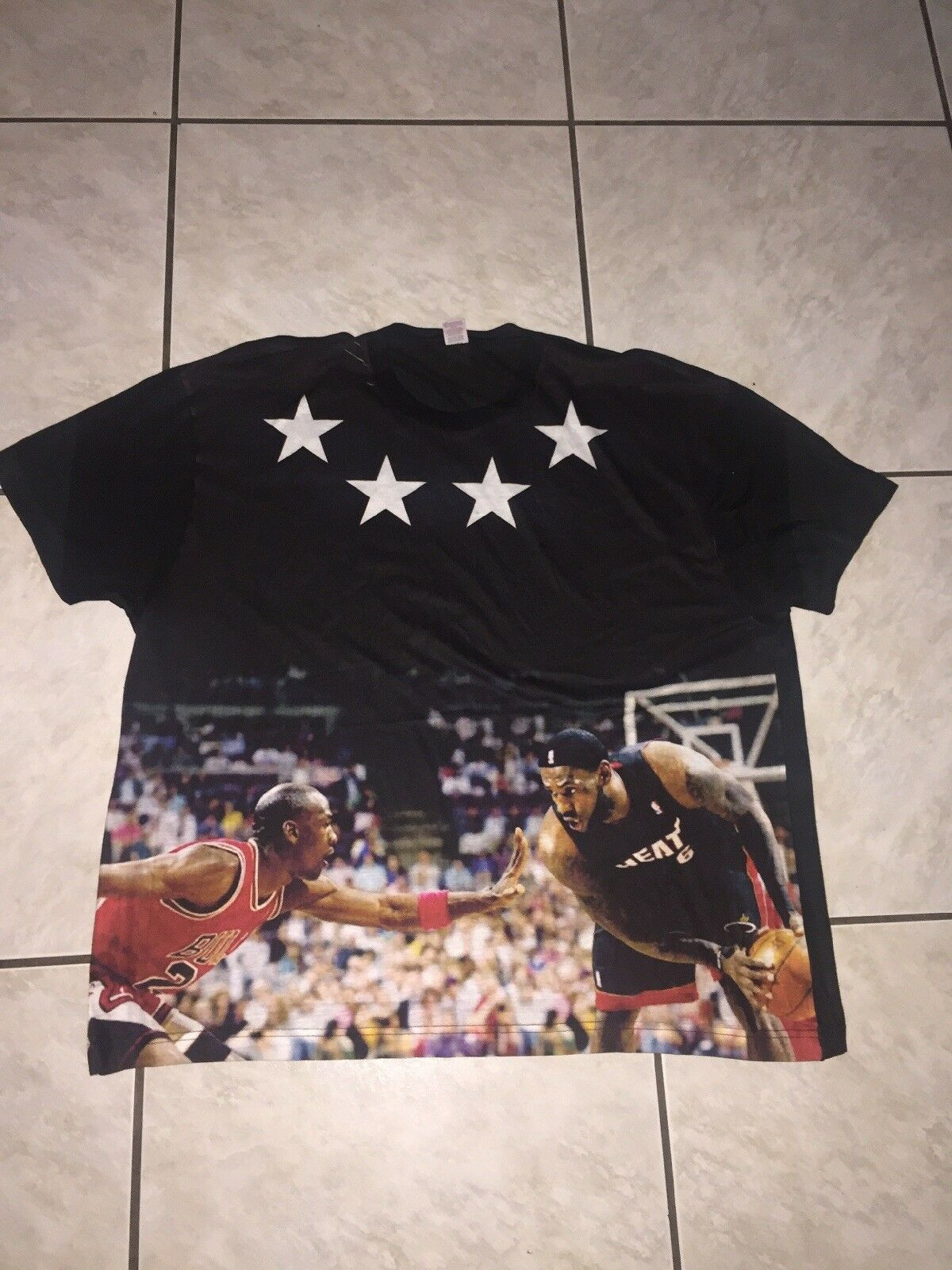 Sublivie  Herren T Shirt Sz 2XL Jordan VS Lebron