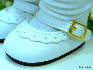 """WHITE Leather-Look Mary Jane DOLL SHOES fits 18"""" AMERICAN GIRL Doll Clothes"""
