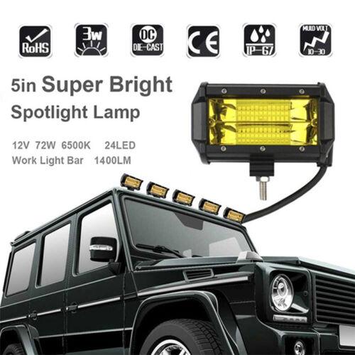 5/'/' Inch 72W LED Work Light Bar,Flood Driving Fog Lamp Truck//Boat//Offroad Yellow