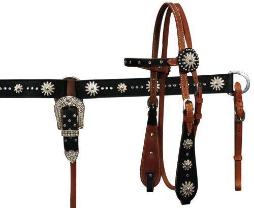 Silla de montar caballo occidental Bling  Cuero Tachuela Set Brida con Riendas + pecho Collar