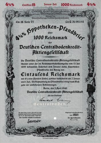 Deutsche Centralbodenkredit AG Berlin Bank Anleihe Pfandbrief 1940