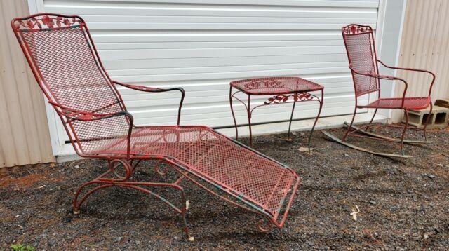 Woodard Wrought Iron Patio Spring Chaise Lounge Table Chair Rocker Garden Vtg