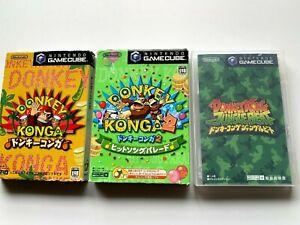 Lot-2-Nintendo-Game-Cube-DONKEY-KONGA-1-2-JB-set-from-JAPAN-GC-JP-NTSC-J