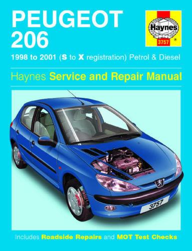 PEUGEOT 206 BENZINA DIESEL 98-01 manuale HAYNES 3757 NUOVO