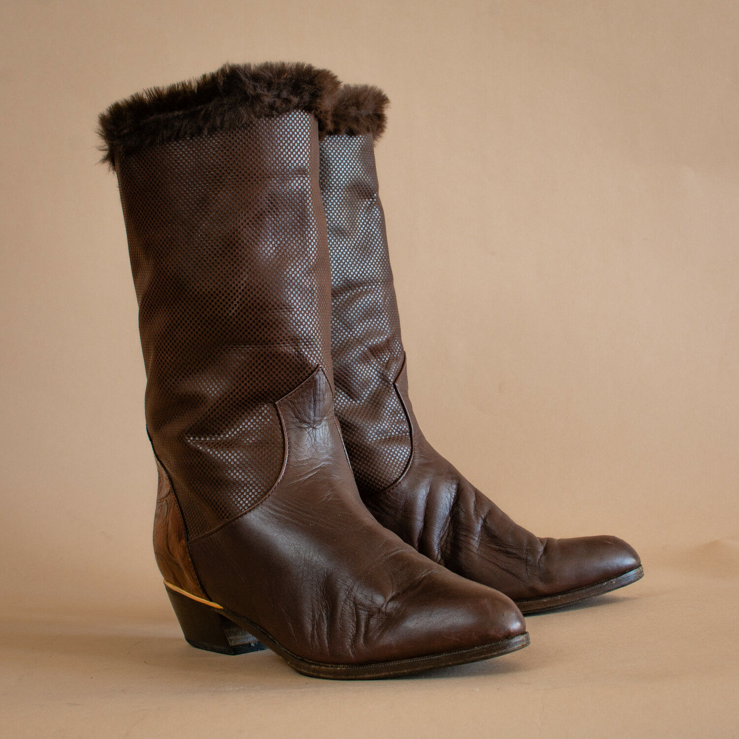 65a334b7f79b4 Vintage 90's Women's Brown Leather Heeled Calf Boots UK 5 EU 38 US 7 ...