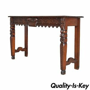 Antique French Country Renaissance Fruit Harvest Carved Oak Console