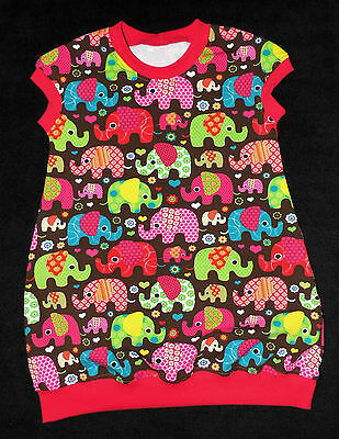 Mädchen  Kleid Jerseykleid  Elefanten   Gr 86-140   HANDARBEIT
