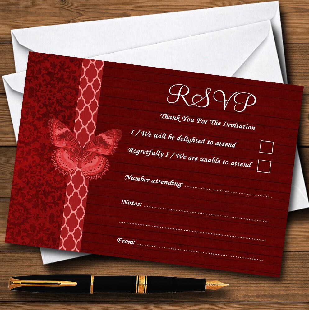 RUSTICO VINTAGE VINTAGE VINTAGE LEGNO FARFALLA ROSSO SCURO schede Personalizzati RSVP 1cbb5d