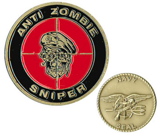 ANTI ZOMBIE SNIPER NAVY SEAL TRIDENT MILITARY  CHALLENGE COIN