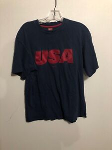 Vintage-Team-Nike-Blue-USA-Soccer-Spell-Out-Patched-Shirt-Medium