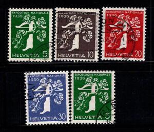 Suisse-1939-Mi-348-352-Oblitere-100-Exposition-nationale