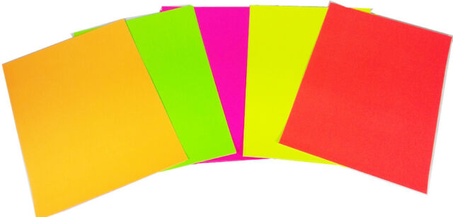 12 Pack A4 Neon Mix Colours Card 200gsm Making Art Craft School Kids New