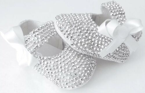 Sparkly romany Diamanté bling baby Pram Shoes christening//wedding//bridesmaid