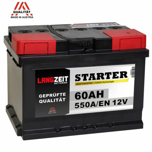 Autobatterie 12V 60Ah Starterbatterie statt 54Ah 55Ah 56Ah 61Ah KFZ PKW Batterie