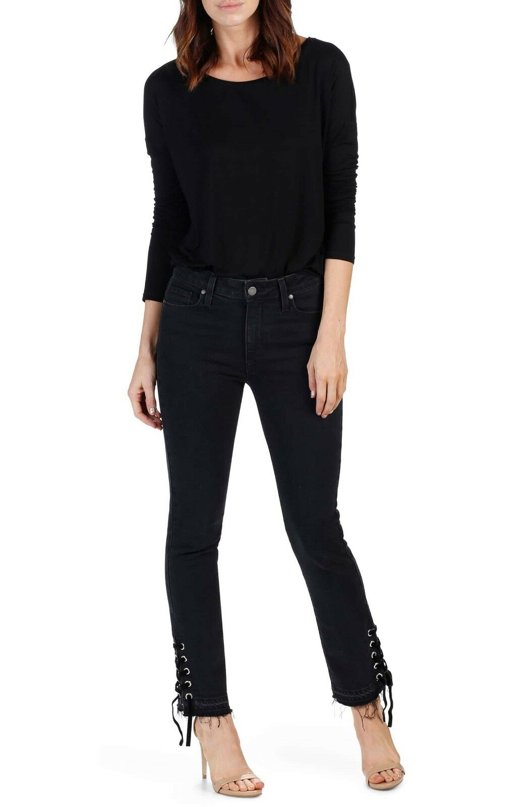 NWT  219 PAIGE Jeans Sz 23 Jacqueline High Rise Straight Raw Hem Ankle Lace