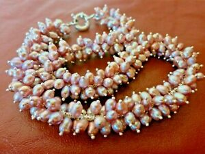 "VINTAGE FRESHWATER CULTURED LAVENDER MAUVE PEARLS TORSADE NECKLACE 18"" WOW! TMP"