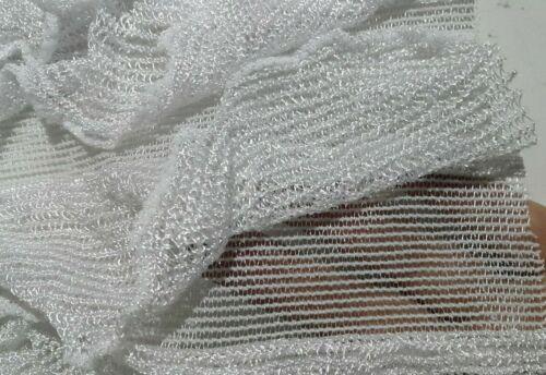 Tela de encaje con volantes-Blanco y caqui colores-vendido por el medidor