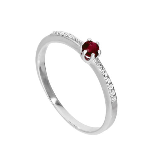 Sterling Silver Genuine Garnet Gemstone /& CZ Crystal Solitaire Ring Sizes K U