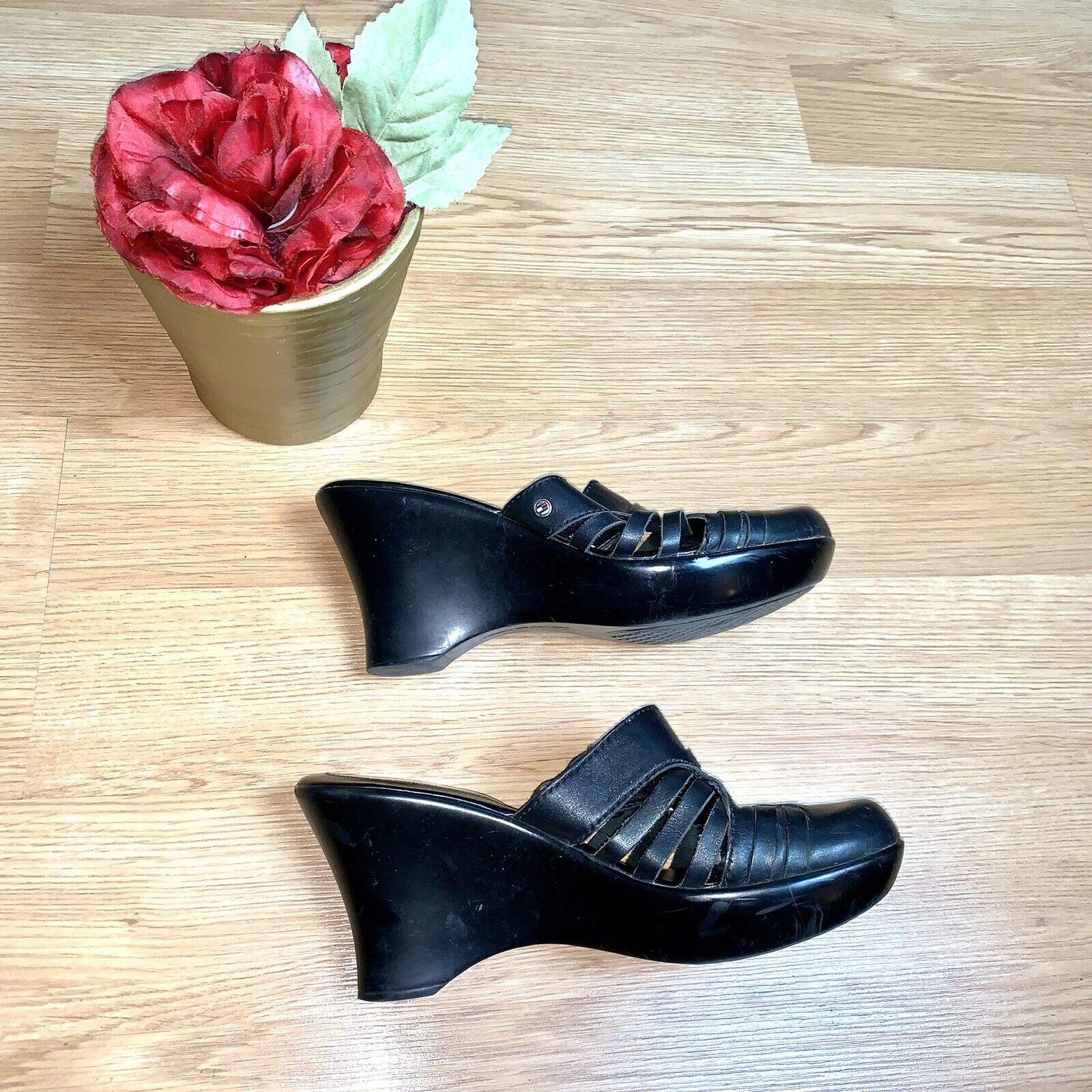 Tommy Hilfiger  Black Mule Leather Wedges Size 8 - image 2
