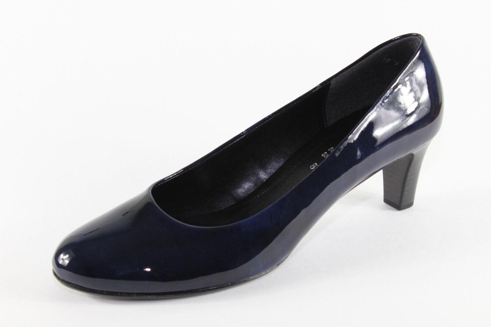 Gabor 300.76, elegante Lack-Pumps in Blau, Damenschuhe Übergröße