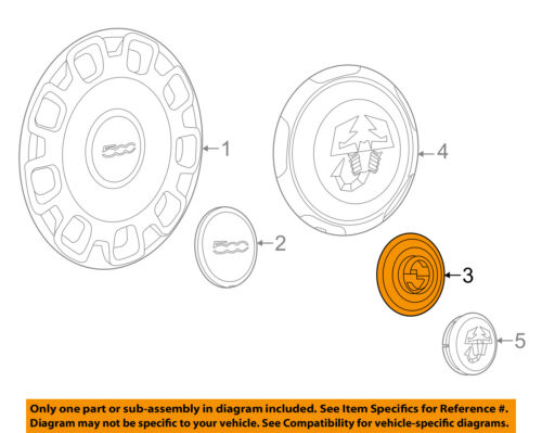 FIAT OEM 2012 500 Wheel-Center Cap Hub Cover 4726253AA