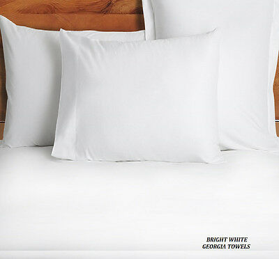 12 NEW PILLOW CASES COVERS STANDARD BRIGHT WHITE T-180 PERCALE HOTEL LINEN SALE!