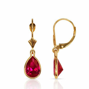 Image Is Loading Ruby Pear Shape Bezel Set Drop Dangle 14k