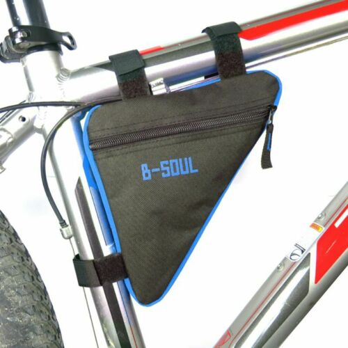 Bicycle Bike Storage Bag Triangle Saddle Frame adjustable Cycling Pouch Blue