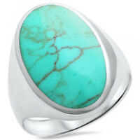 Natural Turquoise .925 Sterling Silver Ring Sizes 5-10