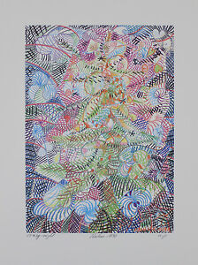Hermann-Josef-Kuhna-Crazy-Night-immagine-grafica-pressione-a-mano-firmato-Number-40x30cm