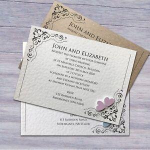 25-Wedding-Invitations-Evening-Invites-Personalised-amp-Handmade-40-Colours