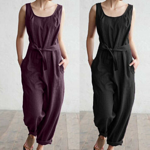 Women With Belt Linen Sleeveless Casual Cute Pockets Jumpsuits Playsuits HY
