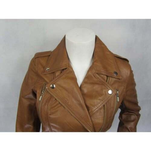 Ladies Tan Napa Leather Stud Zip Slim Tight Fitted Short Biker Jacket Bike