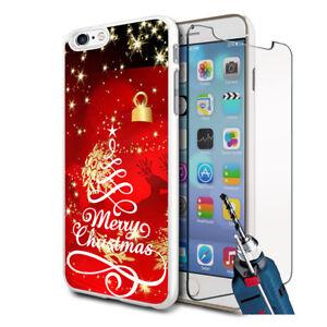 Rojo-Feliz-Navidad-Diseno-Carcasa-Rigida-amp-Cristal-para-Varios-Moviles