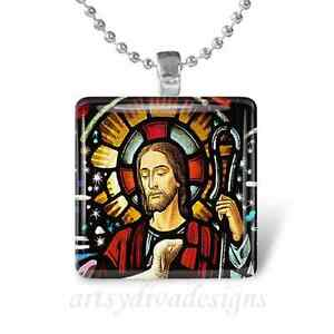 Jesus christ lamb glass tile pendant necklace keychain ebay image is loading jesus christ lamb glass tile pendant necklace keychain aloadofball Image collections