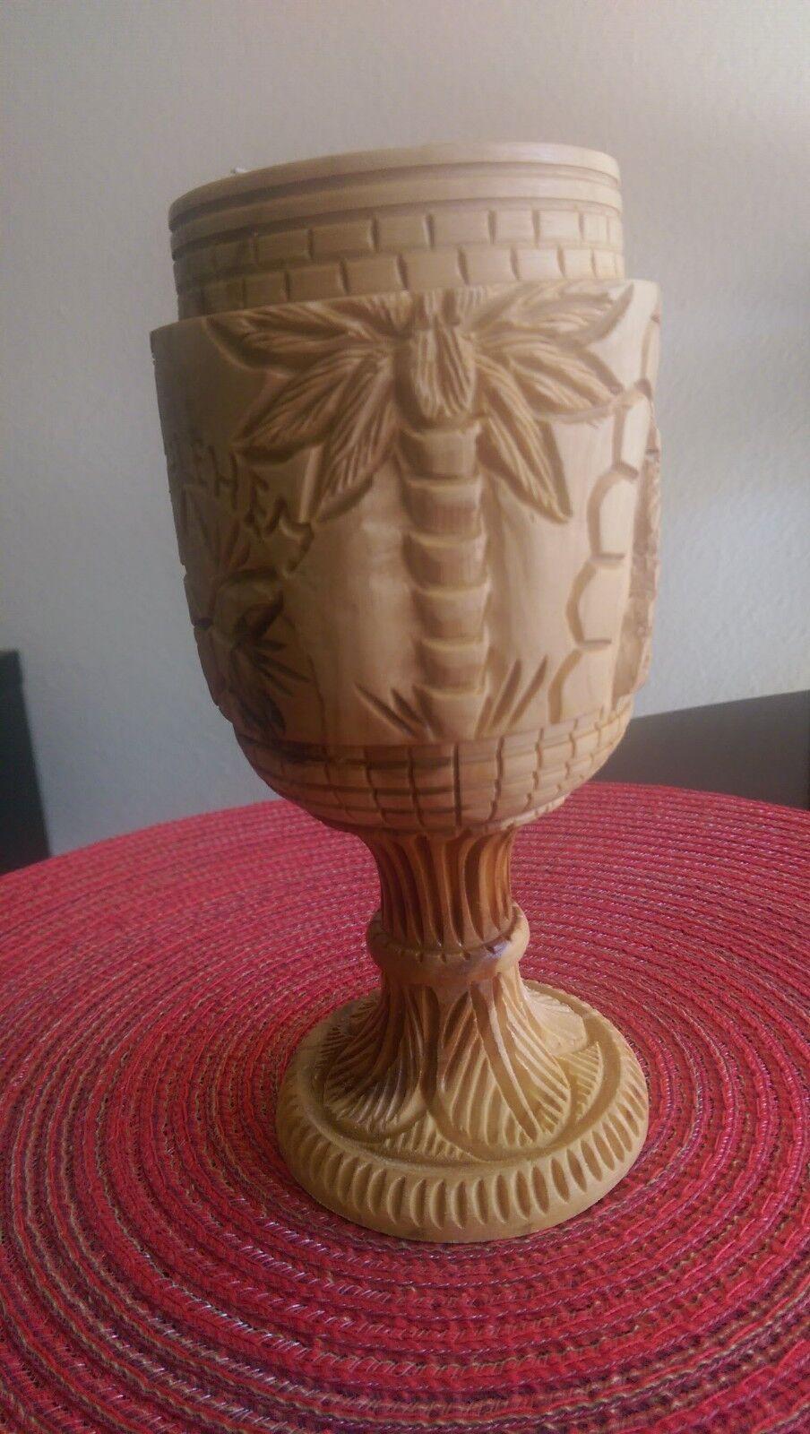 "6/"" Bethlehem Olive Wood Communion Cup Holy Wine Church Chalice Jerusalem Israel"