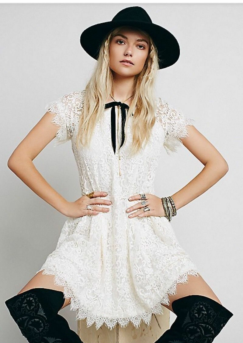 NWT FREE PEOPLE SzS STARDUST SHORT SLEEVE LACE MINI DRESS IVORY