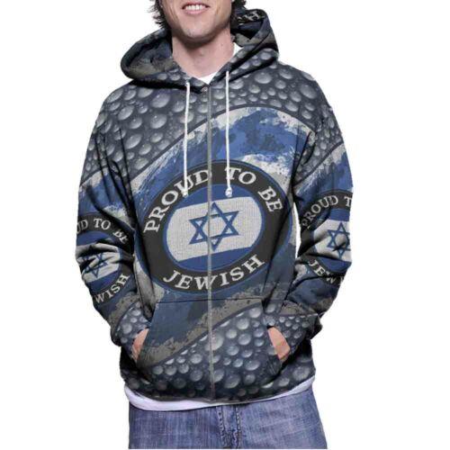 Proud to be Jewish Hoodie Fullprint Longsleeve New Men/'s Hoodie Zipper
