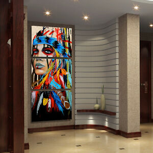 3Pcs Unframed Canvas Print Painting Picture Wall Mural Decor Indian Woman M