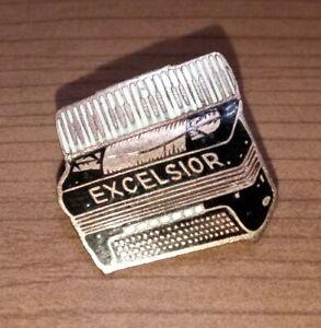 Antique Excelsior Symphony Accordion Salesman Pin Advertising Porcelian Sign A+
