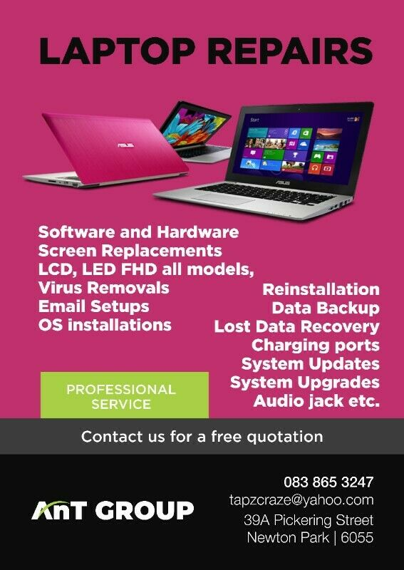 FOR ALL YOUR LAPTOP REPAIRS AT GOOD PRICES