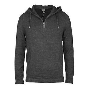 Bench-Occupier-Knitted-Jumper-Grey-Men-039-s-Knitwear-Hoody-with-Zip