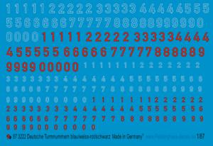 Peddinghaus Decals 1//87 3222 Deutsche Turmnummern Blau//weiss Rot//schwarz