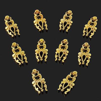 10pcs 3D Metal Hollow Nail Art Alloy Decoration Jewelry Glitter Rhinestone Nail