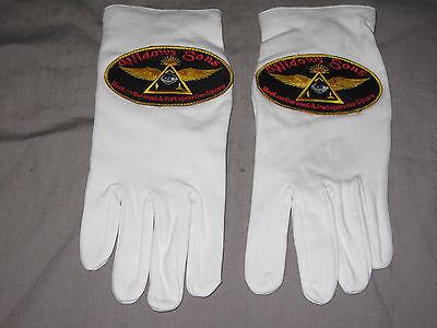 Past Master White Cotton Gloves Freemason Embroidered Ceremonial Logo NEW!