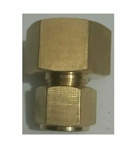 METRIC 4MM ID COMPRESSION QTY 2 BRASS TUBE COUPLINGS