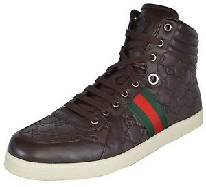 e91cf7ca9e3 NEW Gucci Men s Leather Red Green Web GG Guccissima Coda High Top ...