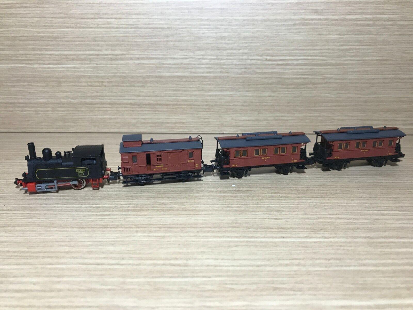 Locomotora  Cuco  020 T MZA + Vagones Mataro & Correos